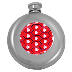 Red Bee Hive Background Round Hip Flask (5 oz)