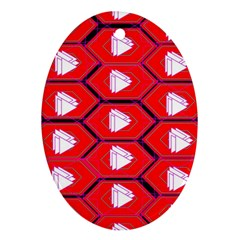 Red Bee Hive Background Oval Ornament (two Sides)
