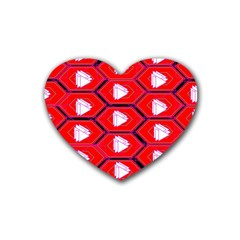 Red Bee Hive Background Rubber Coaster (heart)