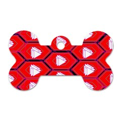Red Bee Hive Background Dog Tag Bone (Two Sides)