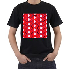 Red Bee Hive Background Men s T-Shirt (Black)