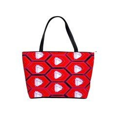 Red Bee Hive Background Shoulder Handbags