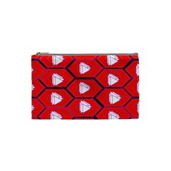 Red Bee Hive Background Cosmetic Bag (small)