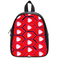 Red Bee Hive Background School Bags (Small)