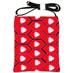 Red Bee Hive Background Shoulder Sling Bags
