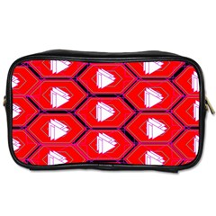 Red Bee Hive Background Toiletries Bags