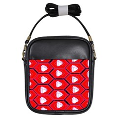 Red Bee Hive Background Girls Sling Bags