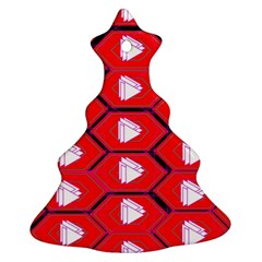 Red Bee Hive Background Ornament (christmas Tree)