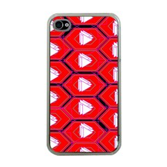 Red Bee Hive Background Apple iPhone 4 Case (Clear)