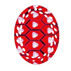 Red Bee Hive Background Oval Filigree Ornament (two Sides)