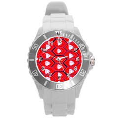 Red Bee Hive Background Round Plastic Sport Watch (l)