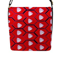 Red Bee Hive Background Flap Messenger Bag (L)