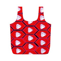 Red Bee Hive Background Full Print Recycle Bags (M)