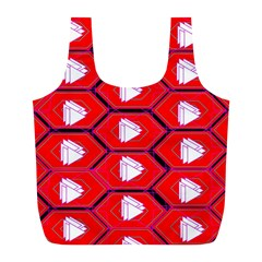 Red Bee Hive Background Full Print Recycle Bags (l)