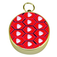 Red Bee Hive Background Gold Compasses