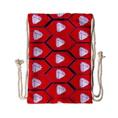 Red Bee Hive Background Drawstring Bag (Small)