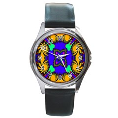 Digital Kaleidoscope Round Metal Watch