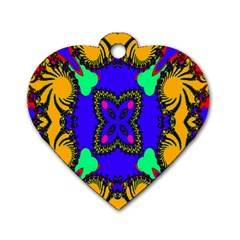 Digital Kaleidoscope Dog Tag Heart (One Side)