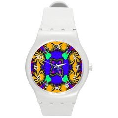 Digital Kaleidoscope Round Plastic Sport Watch (m)
