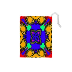 Digital Kaleidoscope Drawstring Pouches (small)