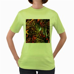 Abstract In Orange Sealife Background Abstract Of Ocean Beach Seaweed And Sand With A White Feather Women s Green T Shirt