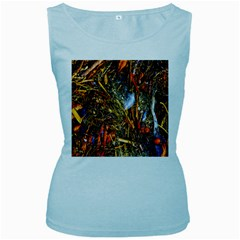 Abstract In Orange Sealife Background Abstract Of Ocean Beach Seaweed And Sand With A White Feather Women s Baby Blue Tank Top