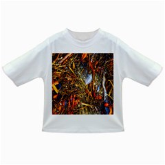 Abstract In Orange Sealife Background Abstract Of Ocean Beach Seaweed And Sand With A White Feather Infant/Toddler T-Shirts