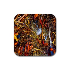 Abstract In Orange Sealife Background Abstract Of Ocean Beach Seaweed And Sand With A White Feather Rubber Coaster (Square)