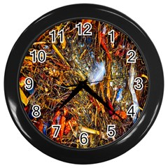 Abstract In Orange Sealife Background Abstract Of Ocean Beach Seaweed And Sand With A White Feather Wall Clocks (Black)