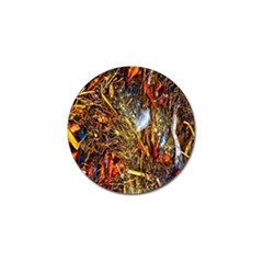 Abstract In Orange Sealife Background Abstract Of Ocean Beach Seaweed And Sand With A White Feather Golf Ball Marker