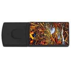 Abstract In Orange Sealife Background Abstract Of Ocean Beach Seaweed And Sand With A White Feather USB Flash Drive Rectangular (2 GB)