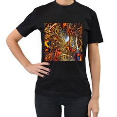 Abstract In Orange Sealife Background Abstract Of Ocean Beach Seaweed And Sand With A White Feather Women s T-Shirt (Black) (Two Sided)