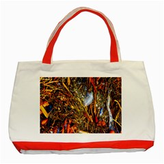 Abstract In Orange Sealife Background Abstract Of Ocean Beach Seaweed And Sand With A White Feather Classic Tote Bag (Red)
