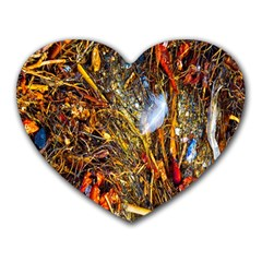 Abstract In Orange Sealife Background Abstract Of Ocean Beach Seaweed And Sand With A White Feather Heart Mousepads