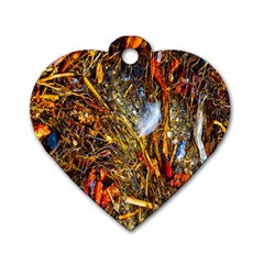 Abstract In Orange Sealife Background Abstract Of Ocean Beach Seaweed And Sand With A White Feather Dog Tag Heart (One Side)