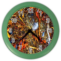 Abstract In Orange Sealife Background Abstract Of Ocean Beach Seaweed And Sand With A White Feather Color Wall Clocks