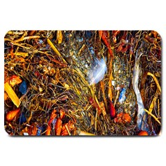 Abstract In Orange Sealife Background Abstract Of Ocean Beach Seaweed And Sand With A White Feather Large Doormat