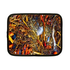 Abstract In Orange Sealife Background Abstract Of Ocean Beach Seaweed And Sand With A White Feather Netbook Case (small)