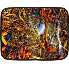 Abstract In Orange Sealife Background Abstract Of Ocean Beach Seaweed And Sand With A White Feather Double Sided Fleece Blanket (mini)