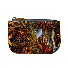 Abstract In Orange Sealife Background Abstract Of Ocean Beach Seaweed And Sand With A White Feather Mini Coin Purses