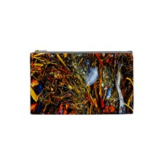 Abstract In Orange Sealife Background Abstract Of Ocean Beach Seaweed And Sand With A White Feather Cosmetic Bag (small)