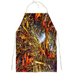 Abstract In Orange Sealife Background Abstract Of Ocean Beach Seaweed And Sand With A White Feather Full Print Aprons