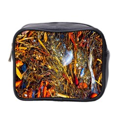 Abstract In Orange Sealife Background Abstract Of Ocean Beach Seaweed And Sand With A White Feather Mini Toiletries Bag 2-Side