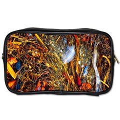 Abstract In Orange Sealife Background Abstract Of Ocean Beach Seaweed And Sand With A White Feather Toiletries Bags 2-Side