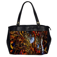Abstract In Orange Sealife Background Abstract Of Ocean Beach Seaweed And Sand With A White Feather Office Handbags