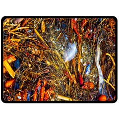 Abstract In Orange Sealife Background Abstract Of Ocean Beach Seaweed And Sand With A White Feather Fleece Blanket (large)