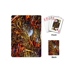Abstract In Orange Sealife Background Abstract Of Ocean Beach Seaweed And Sand With A White Feather Playing Cards (Mini)