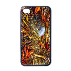 Abstract In Orange Sealife Background Abstract Of Ocean Beach Seaweed And Sand With A White Feather Apple iPhone 4 Case (Black)