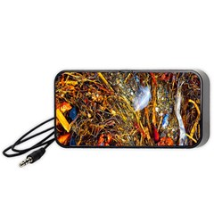 Abstract In Orange Sealife Background Abstract Of Ocean Beach Seaweed And Sand With A White Feather Portable Speaker (Black)