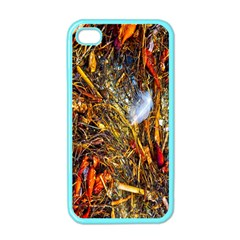Abstract In Orange Sealife Background Abstract Of Ocean Beach Seaweed And Sand With A White Feather Apple iPhone 4 Case (Color)